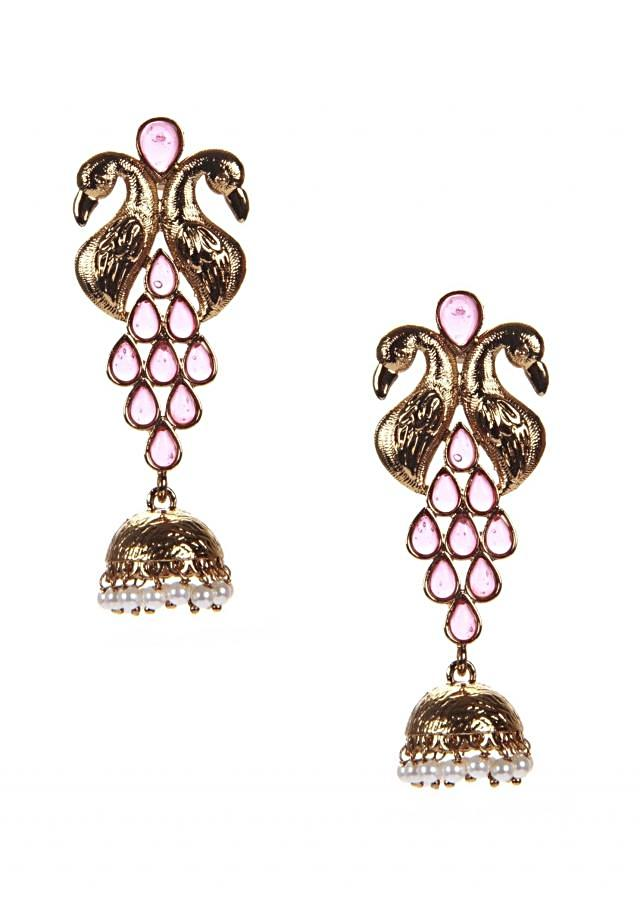 Peacock Earring With Tourmaline Gold Jhumki And Pearl Hangingonly on Kalki