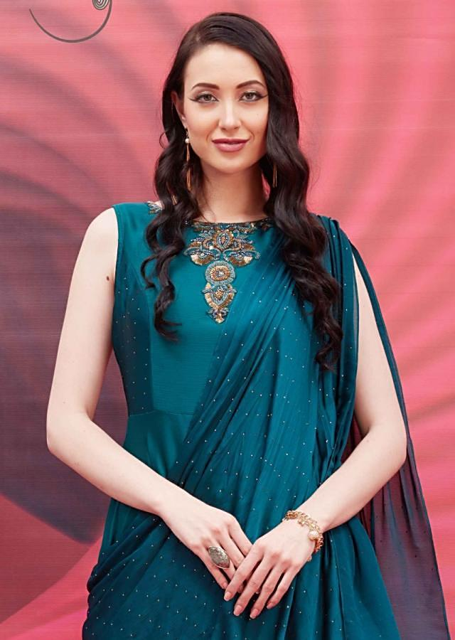 Peacock Green Anarkali Suit With Draped Dupatta And Embroidered Neckline Online - Kalki Fashion