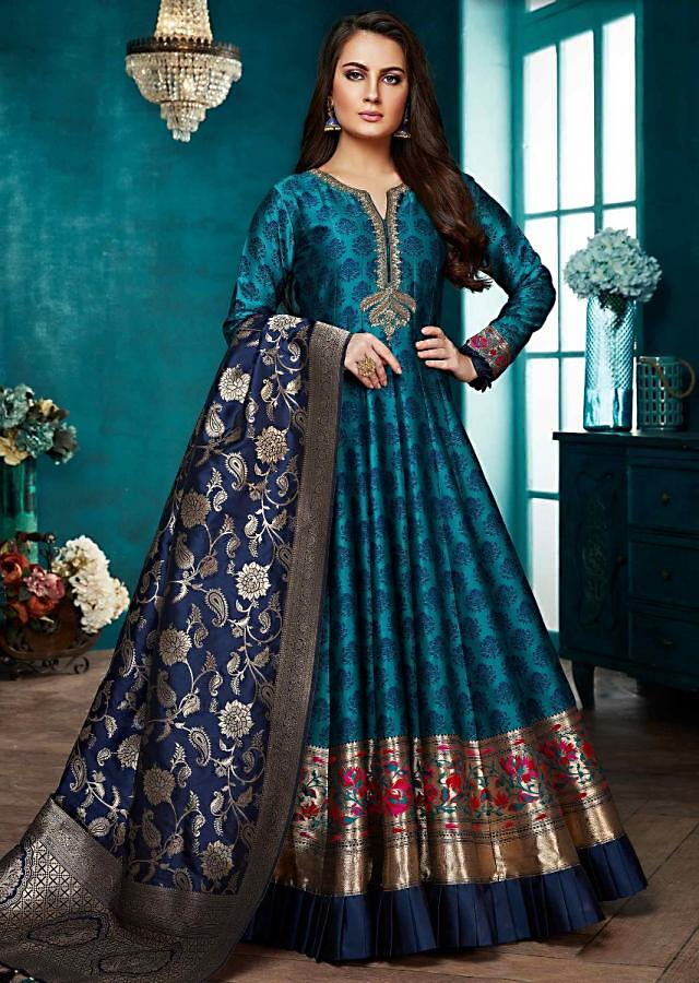 Peacock Green Anarkali Suit With Weaved Buttis Andembroidered Placket Online - Kalki Fashion