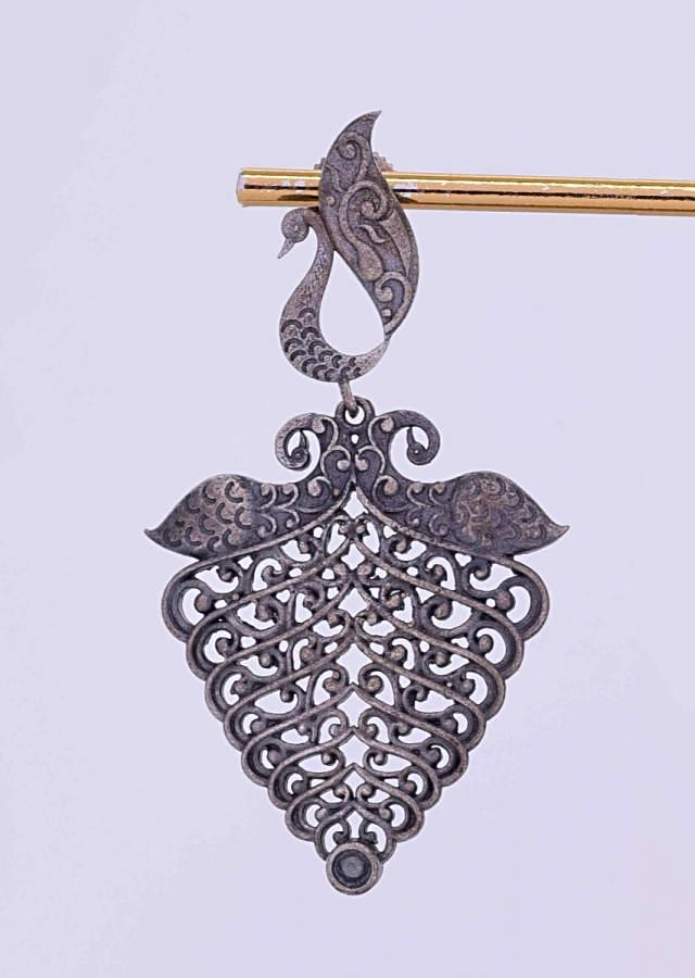 Peacock motif oxidized earring with cut work only on Kalki