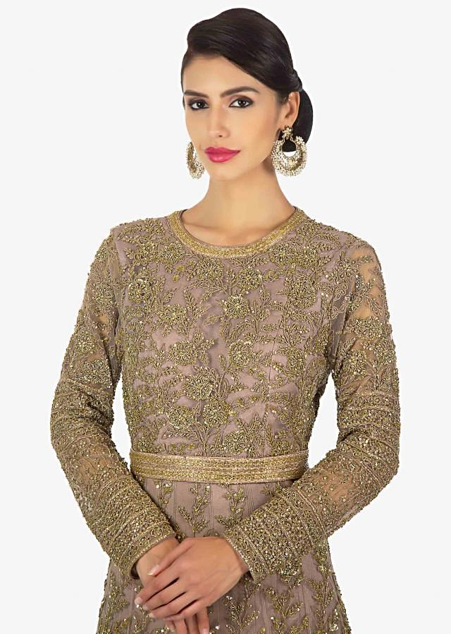 Peanut brown anarkali gown in sequins and cut dana only on Kalki