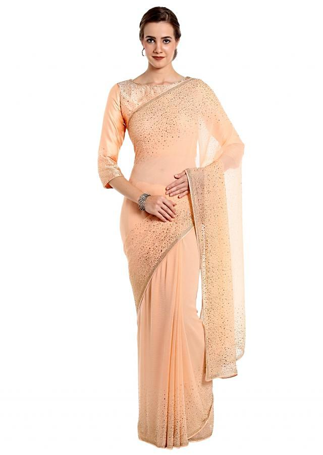 Pearl peach saree in kundan with ready blouse only on Kalki