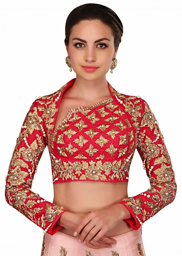 Pearl pink and blood red lehenga Choli in gotta lace work only on Kalki