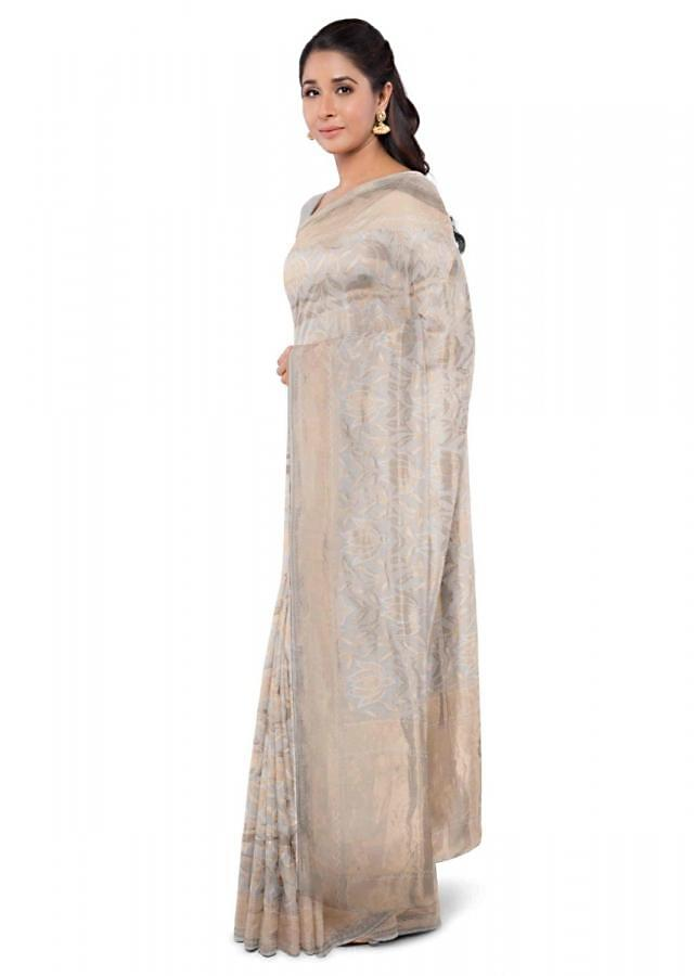 Pearl White Banarasi Saree With Weaved Floral Pattern Online - Kalki Fashion