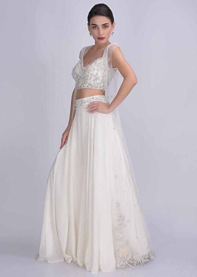 Pearl White Skirt In Crepe With Embellished Net Crop Top And Jacket Online - Kalki Fashion