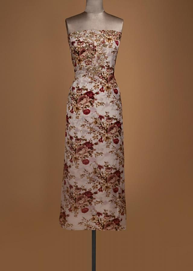 Pearl White Unstitched Suit With Embroidery And Floral Print Online - Kalki Fashion