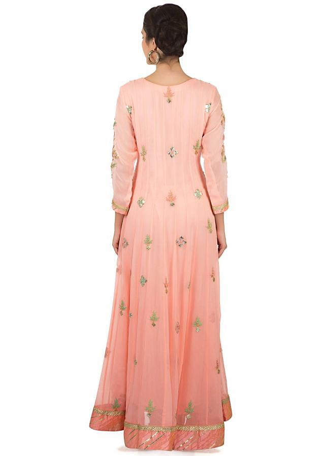 Pearl pink anarkali suit in gotta patch and resham work only on Kalki