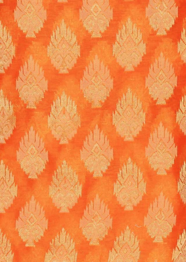 Peel orange unstitched suit with silk dupatta only on Kalki
