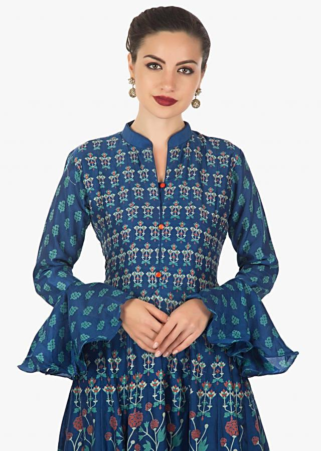 Persian Blue cotton dress with circular flounce sleeve only on kalki