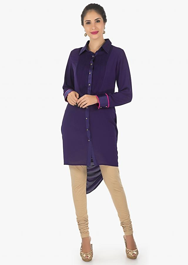 Blue georgette kurti with fancy drape and resham work only on Kalki