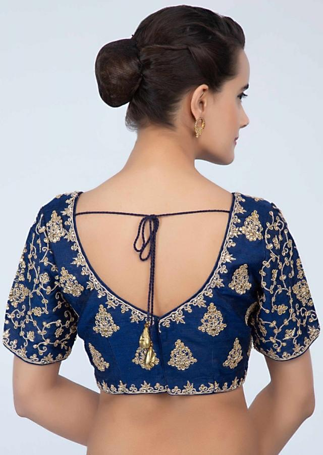 Persian blue raw silk blouse with embroidery and butti only on Kalki