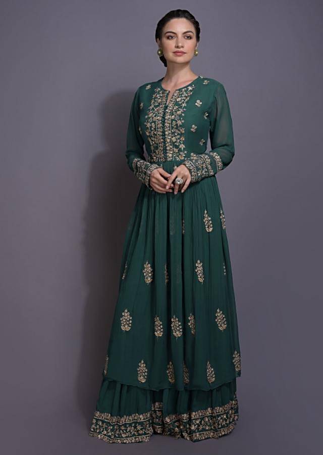 Persian Green Anarkali Suit With Sharara Bottoms And Floral Embroidery Online - Kalki Fashion