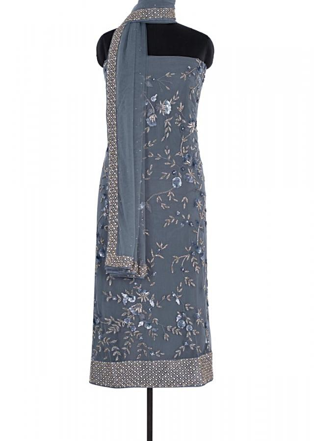Pewter Grey Unstitched Suit In Hard Net With Resham And Cut Dana Jaal Embroidery Online - Kalki Fashion