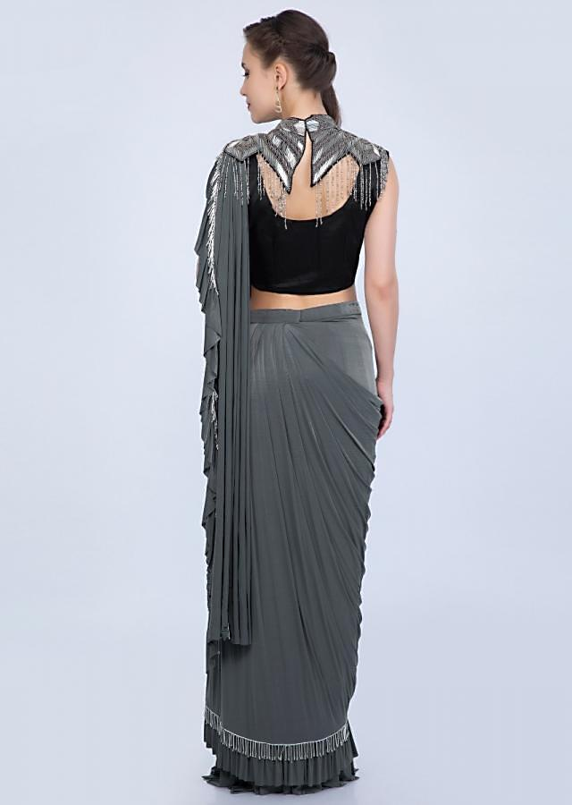 Pewter grey wrap around lycra saree with prestitched draped pallo only on Kalki