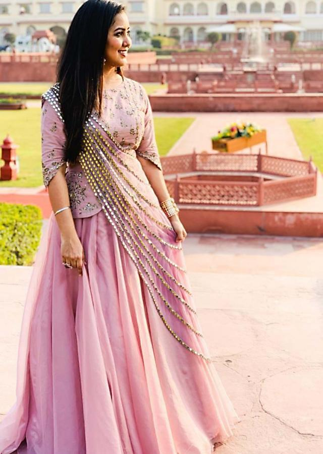 Harshdeep Kaur in Kalki pink embroidered organza lehenga with fancy draped dupatta