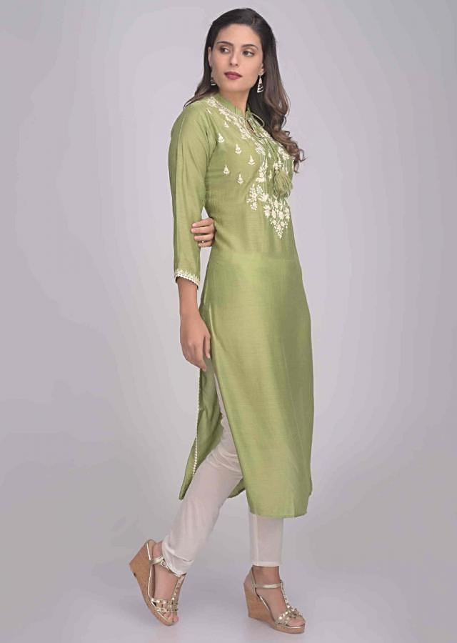 Pickle Green Kurti In Cotton With Embroidery Work Online - Kalki Fashion