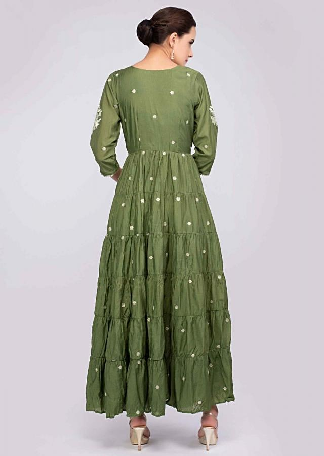 Pickle Green Tunic Dress In Cotton With Zari And Lace Embroidery Online - Kalki Fashion