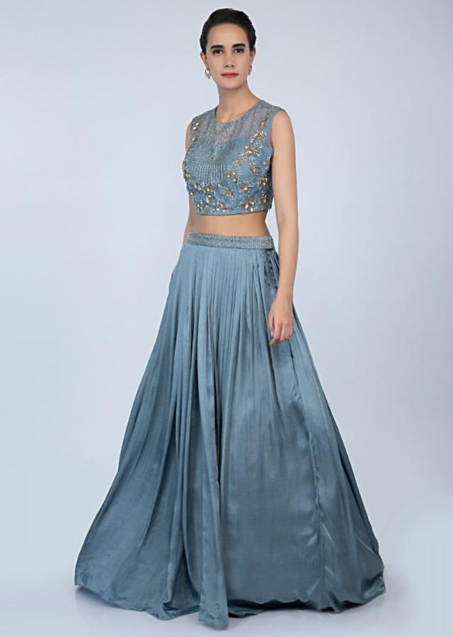 Pigeon Blue Embroidered Lehenga Set With Frilled Dupatta Online - Kalki Fashion