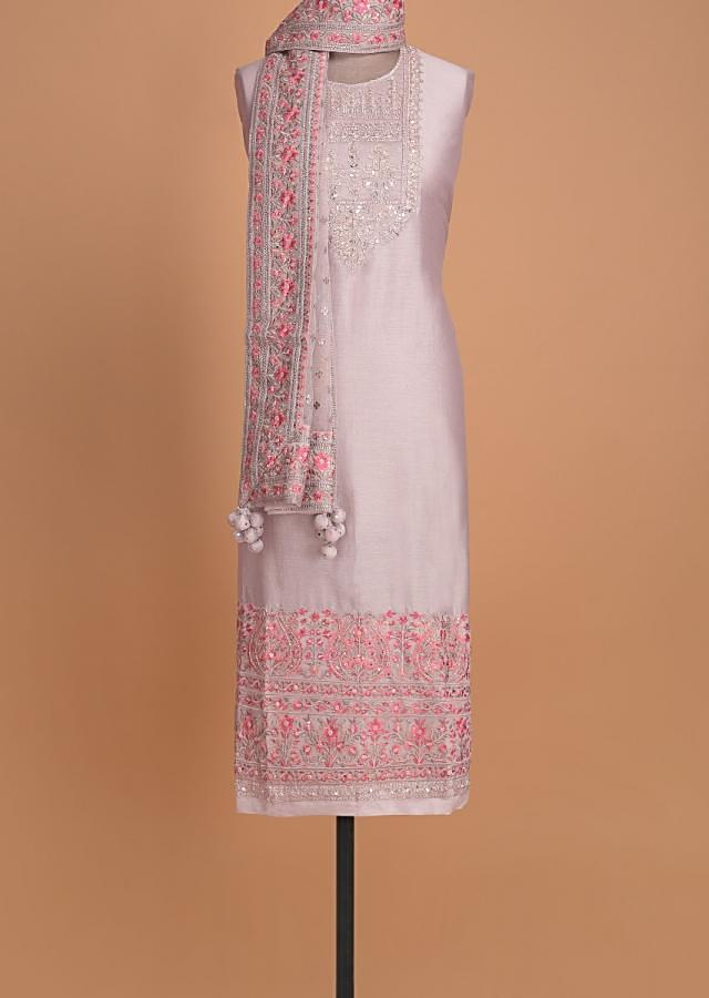 Pigeon Grey Semi stitched Suit With Embroidered Leaf And Floral Motifs On The Neckline Online - Kalki Fashion