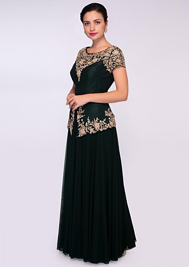 Pine green lycra net gown with embroidered peplum style bodice only on Kalki