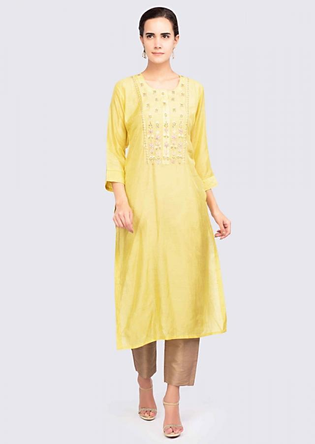 Pine yellow cotton silk kurti with embroidered placket only on Kalki
