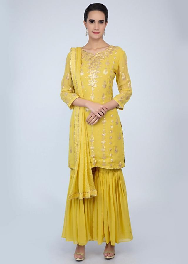 Pine yellow georgette sharara suit in zari embroidery and butti only on Kalki