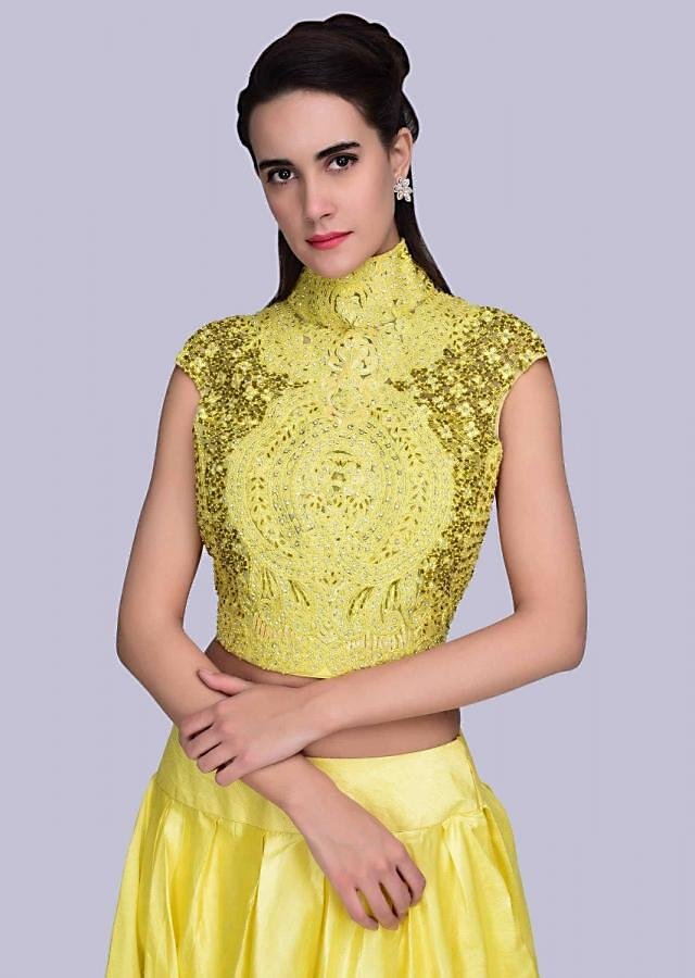 Pine Yellow Lehenga With Matching High Neck Crop Top With In Thread Jaal Embroidery Online - Kalki Fashion