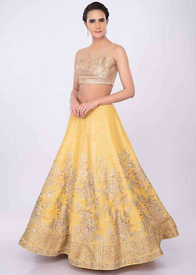 Pine yellow raw silk lehenga set in floral embroidered jaal work only on kalki