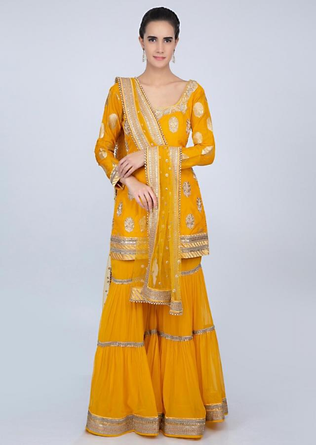 1ea68cf232 Pine yellow sharara suit set with golden embroidery only on kalki