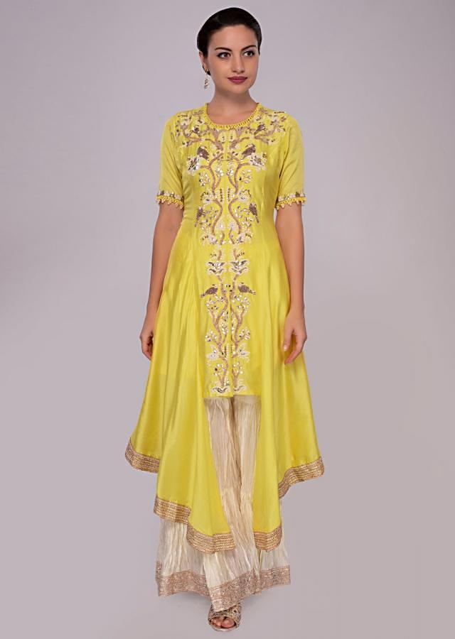 Pine Yellow Suit In Front Panel Embroidery With Off White Sharara Online - Kalki Fashion