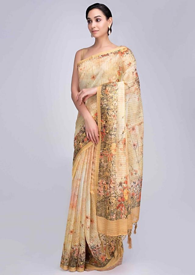 Pine yellow tussar silk saree featuring in digital watercolor print only on Kalki