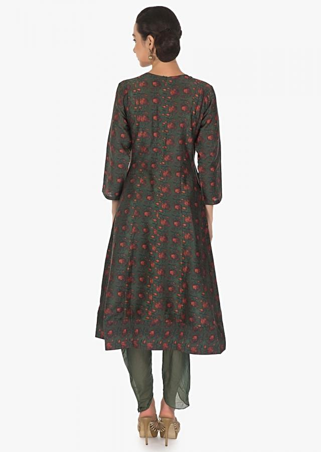 Pine green A line suit with embroidered neckline matched with overlapping pants only on Kalki