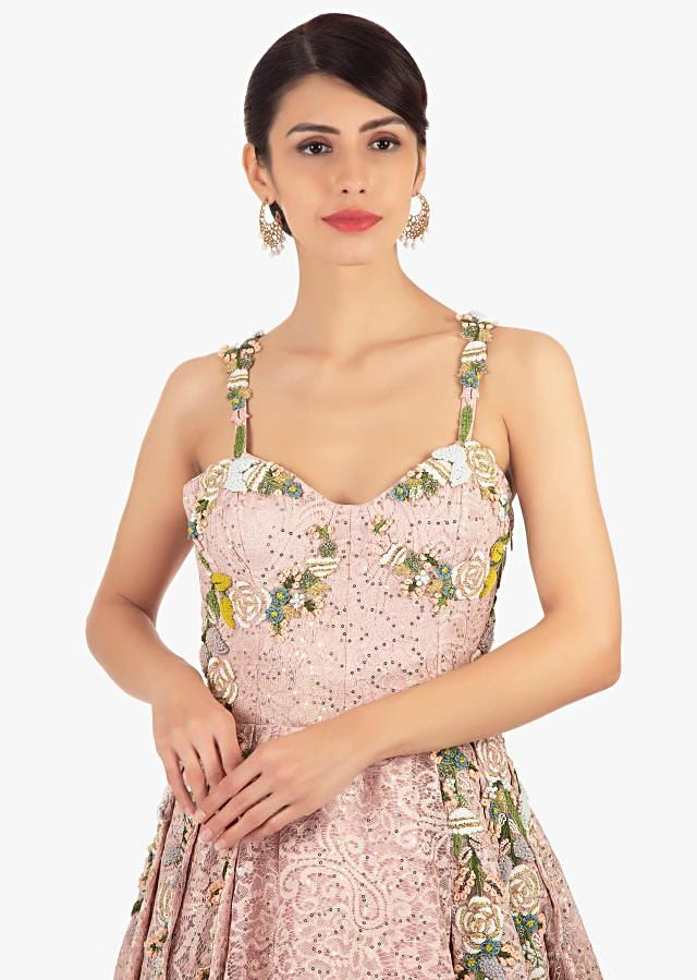 Pink Ball Room Lace Gown In Paisley Motif With Sequins Online - Kalki Fashion