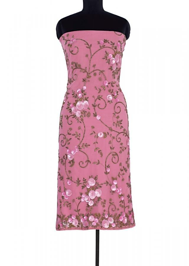 Pink hard net unstitch suit in floral embroidery and applique work only on Kalki