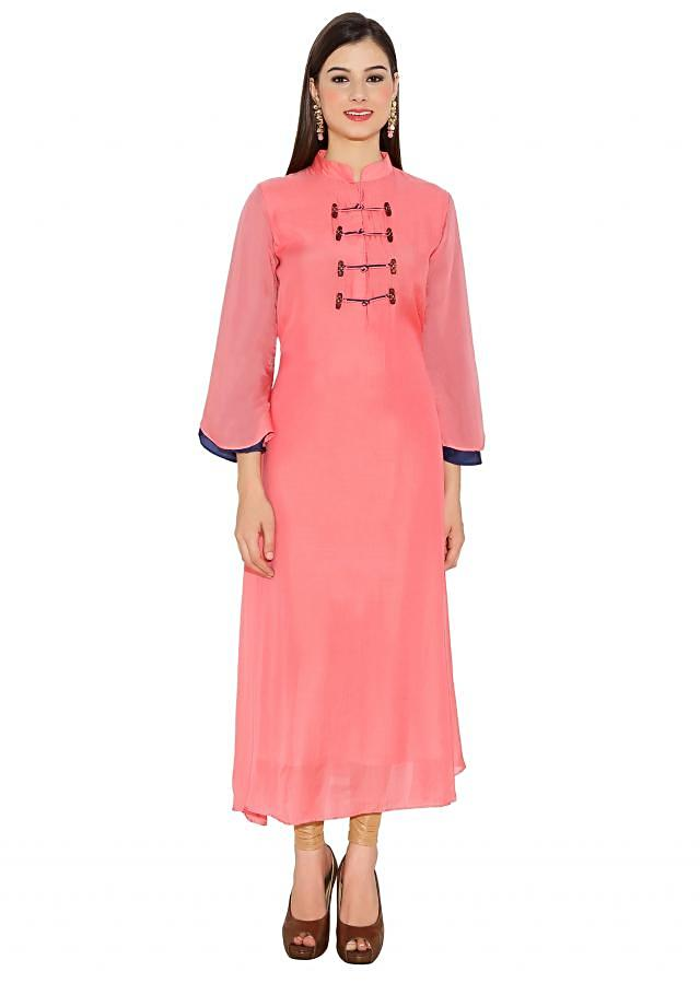 Pink & Navy Blue Cotton Kurti With Kimono Style Kurti With Wooden Buttons And Bell Sleeves Only On Kalki