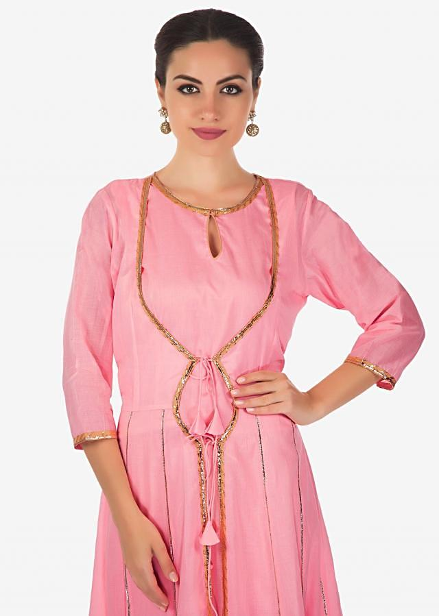 Pink A line dress with attach jacket in gotta lace only on Kalki