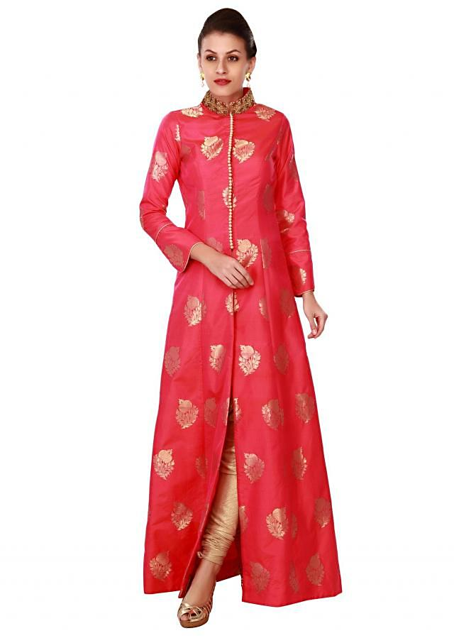 Pink A line suit with embroidered collar only on Kalki