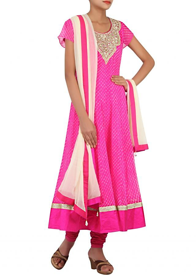 Pink anarkali enhanced in leheriya print only on Kalki