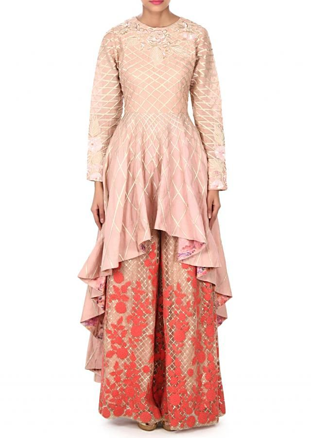 Pink anarkali suit adorn in cod and thread work only on Kalki