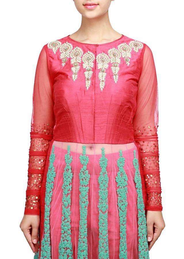 Pink anarkali suit adorn in embossed thread and zardosi embroidery only on Kalki