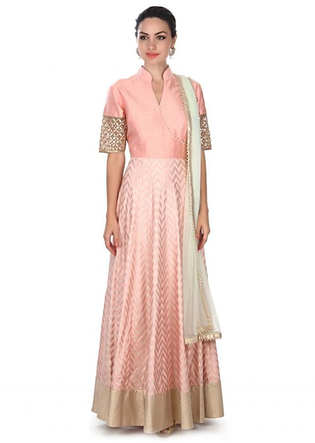 Pink anarkali suit adorn in gotta patch embroidery only on Kalki