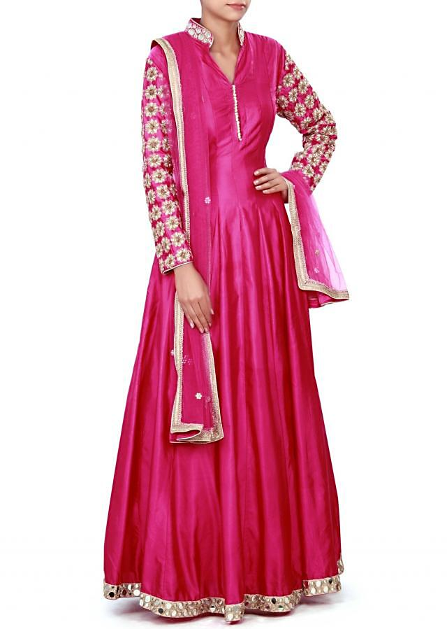 Pink anarkali suit adorn in mirror and zardosi embroidery only on Kalki