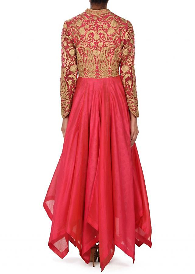 Pink anarkali suit adorn in paisley motif embroidery only on Kalki
