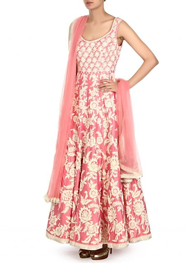 Pink anarkali suit adorn in thread and kundan embroidery only on Kalki