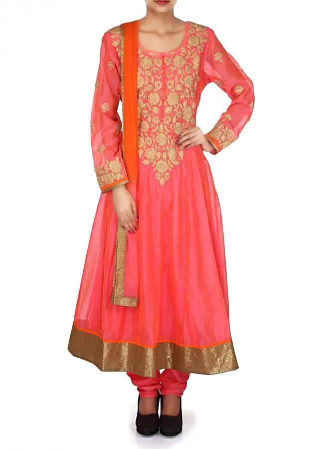 Pink anarkali suit adorn in thread embroidery only on Kalki