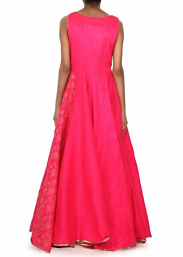 Pink anarkali suit adorn in zari and kardana embroidery only on Kalki