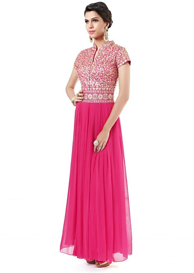 Pink anarkali suit adorn in zari and pearl embroidery only on Kalki