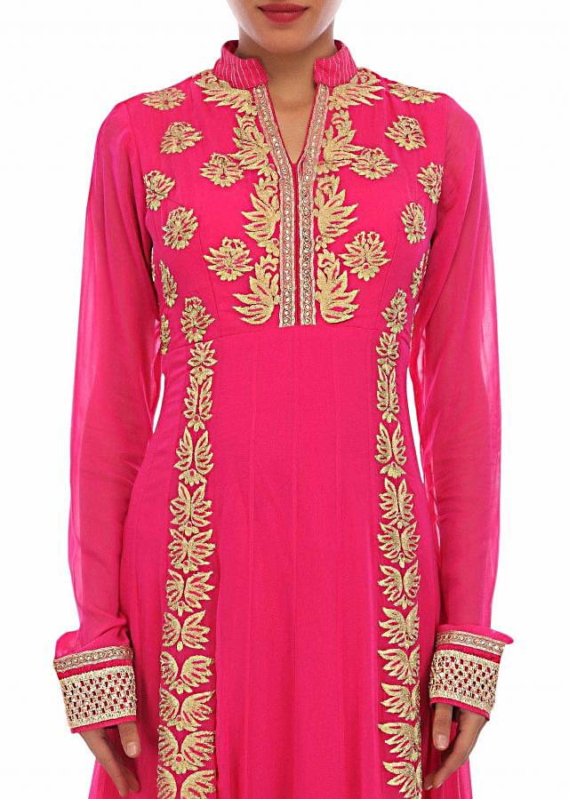 Pink anarkali suit adorn in zari embroidery only on Kalki