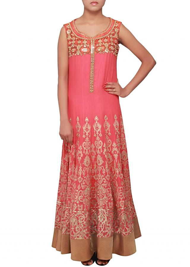 Pink anarkali suit embellished in mirror and zari embroidery only on Kalki