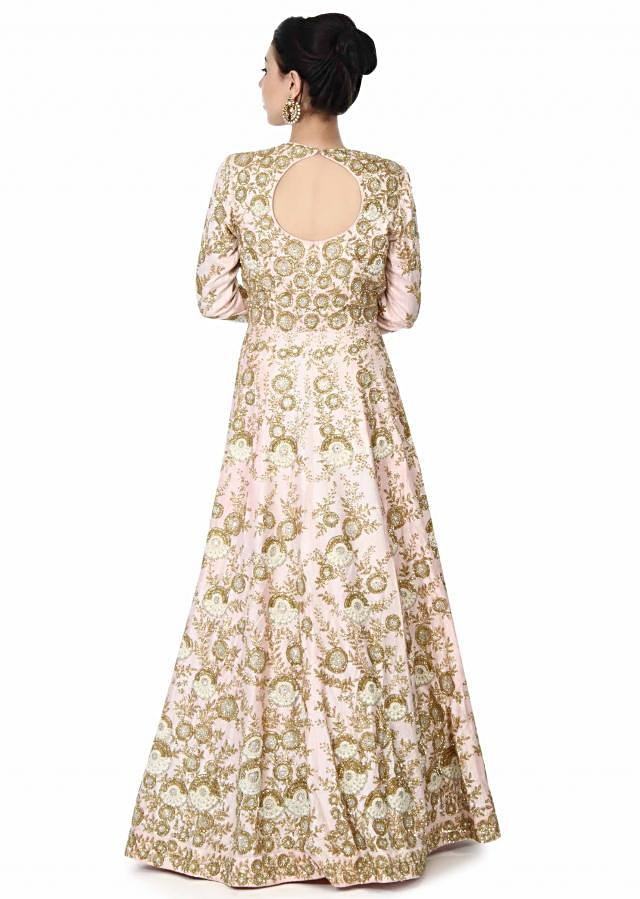Pink anarkali suit embellished in zardosi and kundan only on Kalki